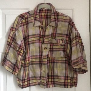 Cropped distressed flannel